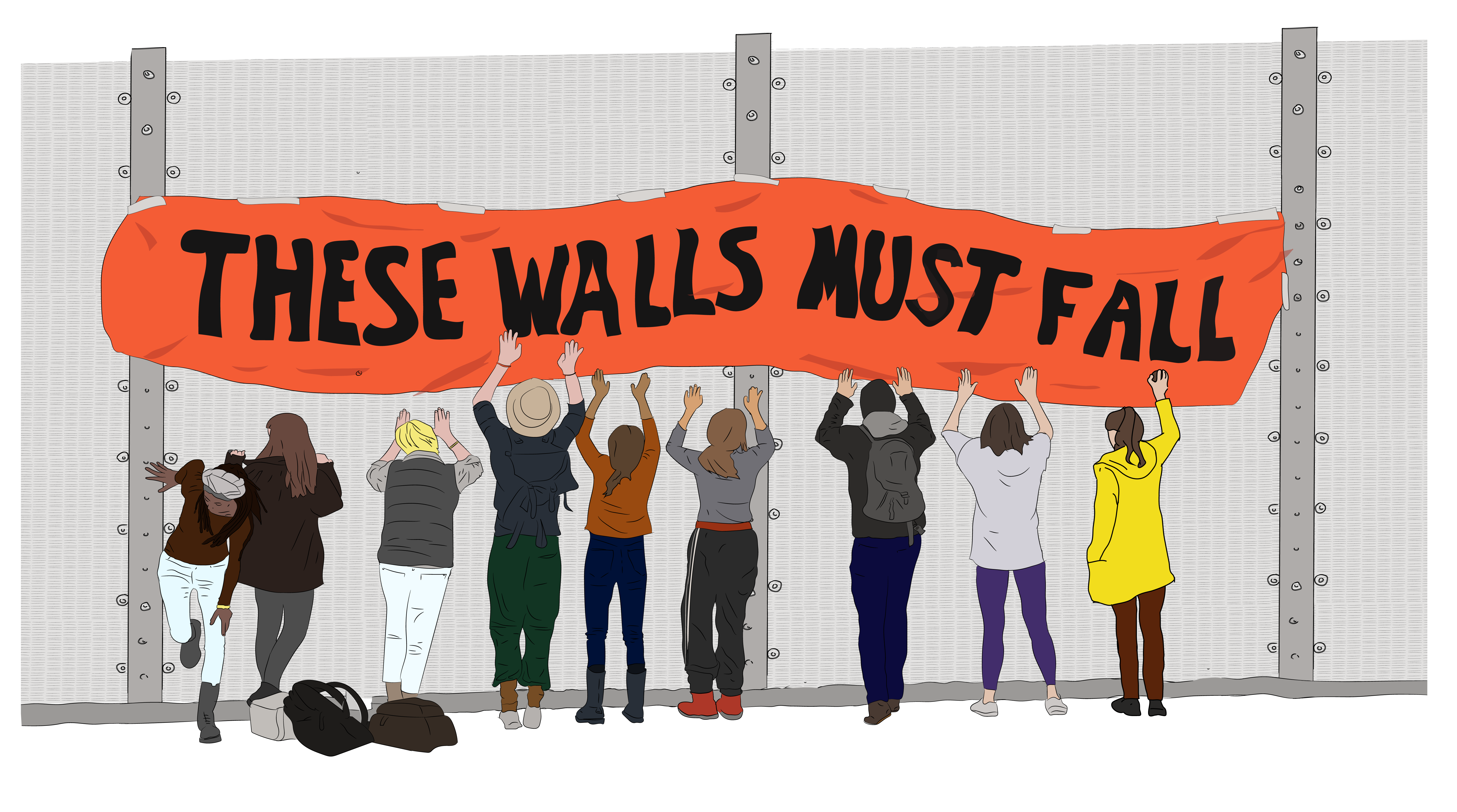 Cartoon of These Walls Must Fall banner and campaigners banging on wall of detention centre